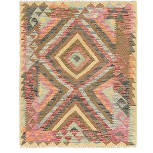 Buy luxury One-of-a-Kind Lorain Hand-Knotted 3' x 3'8 Wool Green/Cream/Pink Area Rug By Isabelline