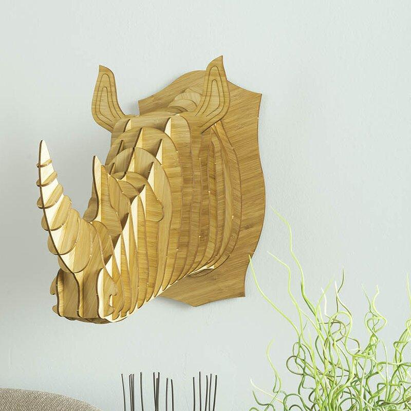 Antler Home Robbie the Bamboo Wood Rhino Head Wall Décor   Wayfair