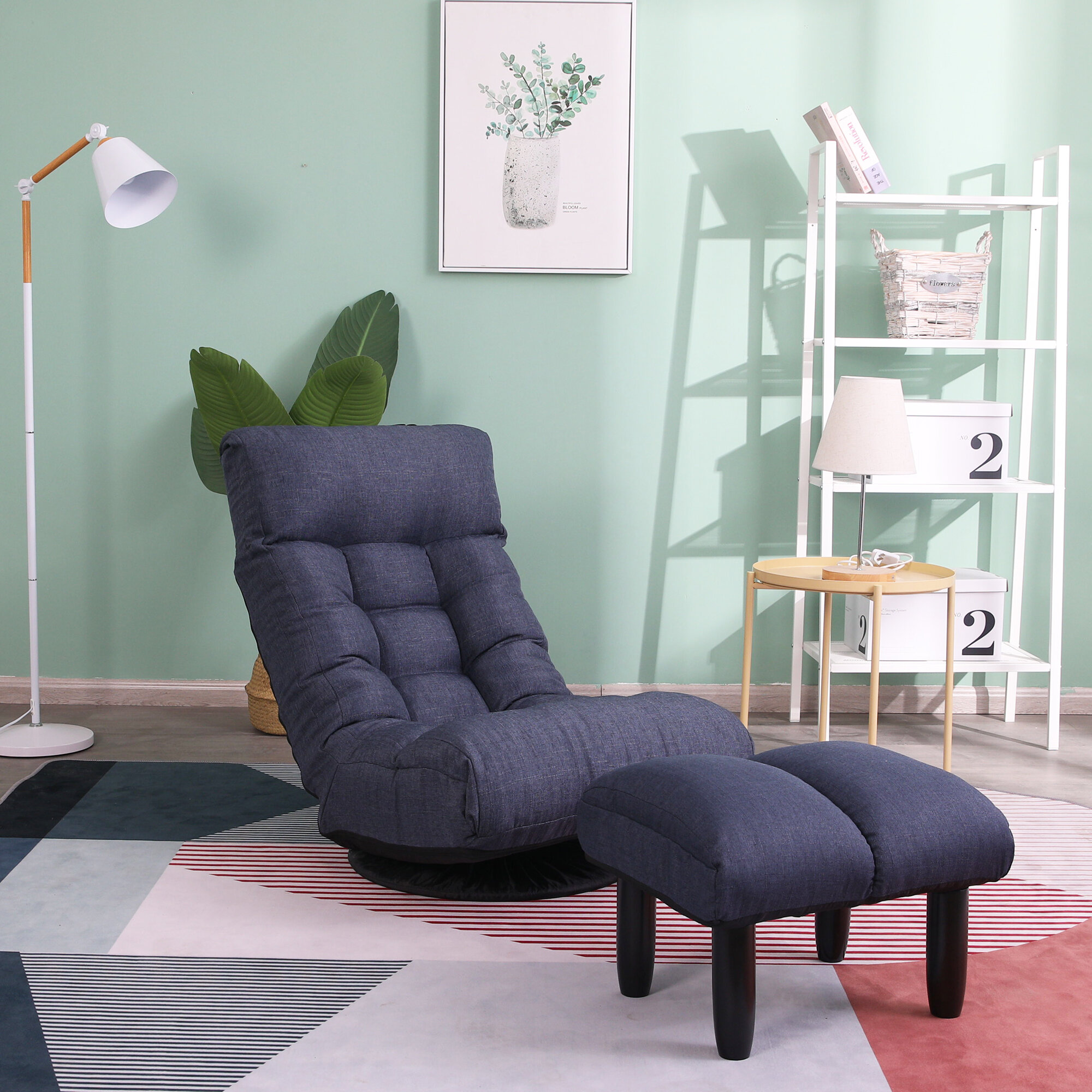 Trule Levin 22 83 W Cotton Swivel Lounge Chair And Ottoman Wayfair