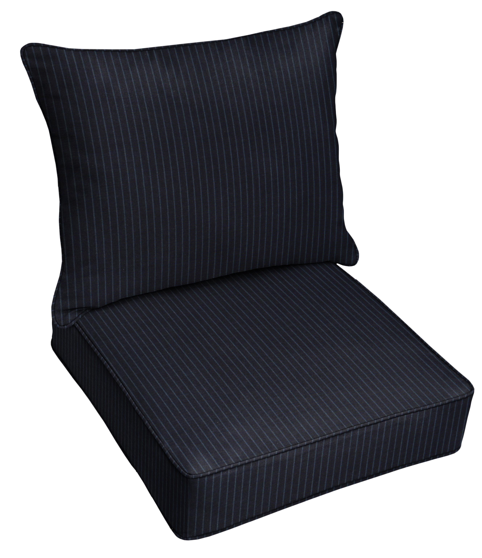 Mozaic Company 2 Piece Deep Seating Striped Indoor Outdoor Sunbrella Dining Chair Cushion Set Wayfair Ca