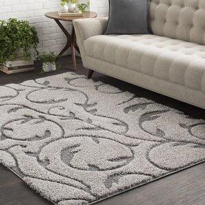 Maira Soft Floral Shag Gray Area Rug