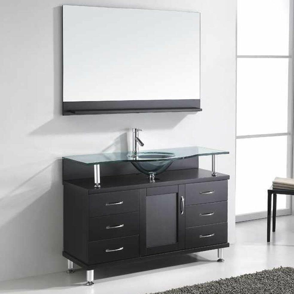 Virtu bathroom accessories - Vincente 48 Single Bathroom Vanity Set With Tempered Glass Top