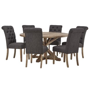 Peralta Rustic X-Base 7 Piece Dining Set