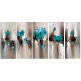 'Turquoise Green Modern Flower Art' 5 Piece Painting Print on Wrapped Canvas Set