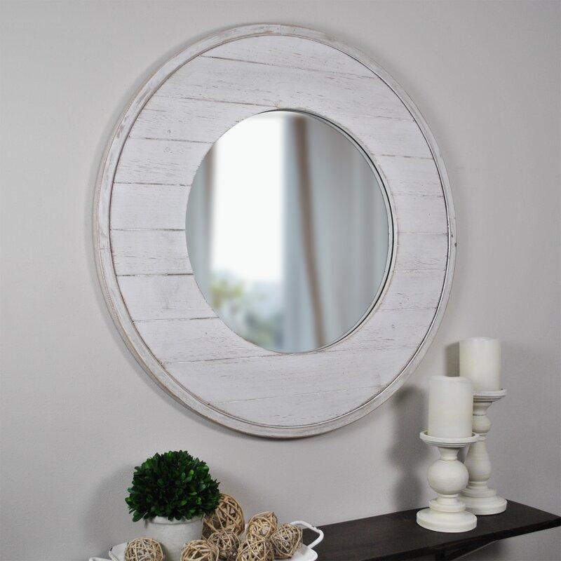 Shabby Chic Wall Mirrors - Tolan Shiplap Coastal Distressed Accent Mirror