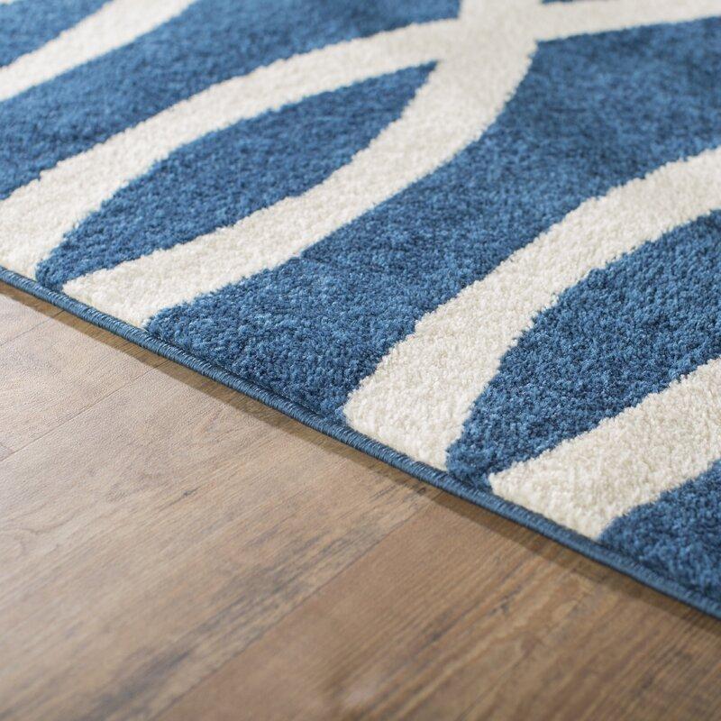 Andover Mills Chrisman Geometric Navy Blue White Area Rug Reviews Wayfair