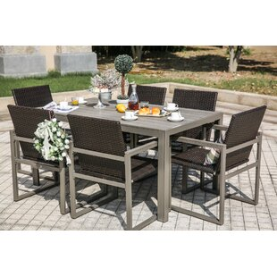 Outdoor Round Dining Set Wayfair - 7 piece outdoor dining set round table