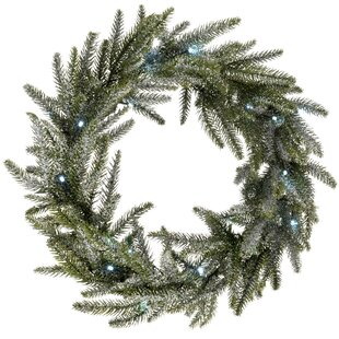 Frosted Pre-Lit Fir 50cm Christmas Wreath By The Seasonal Aisle