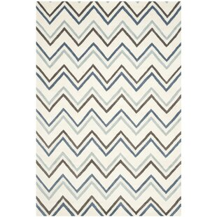 Charlenne Ivory Blue Chevron Area Rug By Zipcode Design