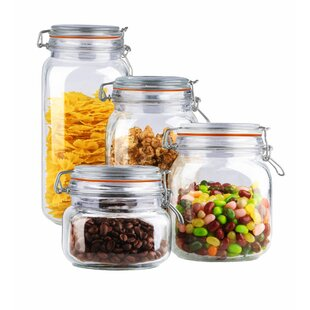 4 Piece Clamp Lid Glass Kitchen Canister Set