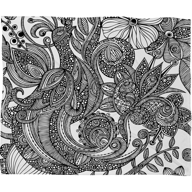 Valentina Ramos Bird in Flowers Black White Throw Blanket