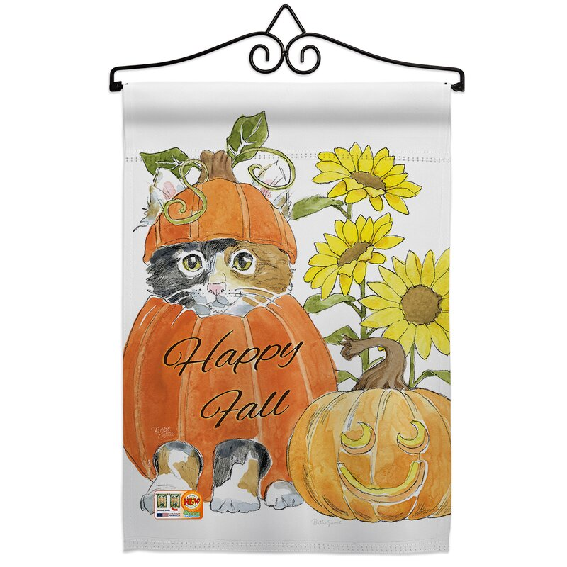 Breeze Decor Happy Pumpkin Kitty Impressions Decorative 2 Sided Polyester 19 X 13 In Flag Set Wayfair