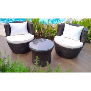 Branden 3 Piece Conversation Set with Cushions by Bay Isle Home