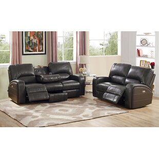 Woodhull Reclining Leather 2 Piece Living Room Set Red Barrel Studio
