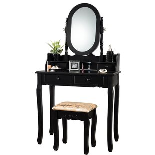 Charlton Home Sydnee Makeup Vanity Set with Mirror