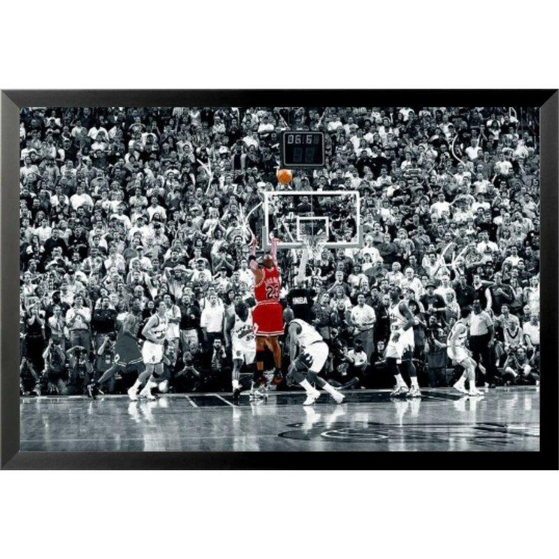 new arrival 87f10 178b4  Michael Jordan - the Last Shot Sports - NBA Chicago Bulls Superstar Legend  Black and.
