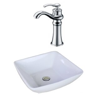 Coupon Ceramic Square Vessel Bathroom Sink with Faucet and Overflow By American Imaginations