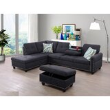 Burhill 97.2 Wide Linen Corner Sectional with Ottoman by Red Barrel Studio®