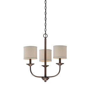 Coupon Steuben Rubbed Bronze 3-Light Shaded Chandelier By Red Barrel Studio