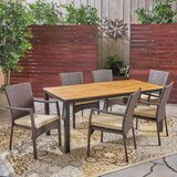 Serenity 7 Piece Teak Dining Set with Cushions
