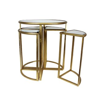 Mercer41 Markita Mirror End Table with 4 Chairs