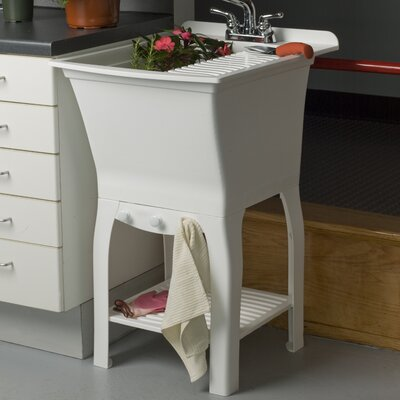 "Fitz Workstation 20.5"" x 25.75"" Freestanding Laundry Sink with Faucet Cashel"