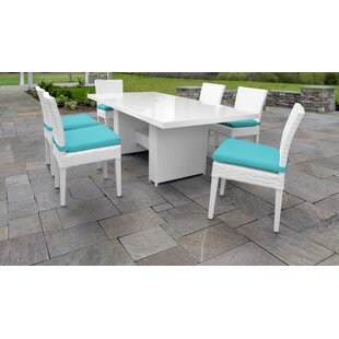 TK Classics Miami 7 Piece Outdoor Patio Dining Set with Cushions