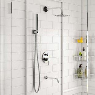 Rebrilliant Bustillos Diverter Complete Shower System with 8 Inch Rain Shower, Handheld and Tub Filler - Includes Rough-In Valve