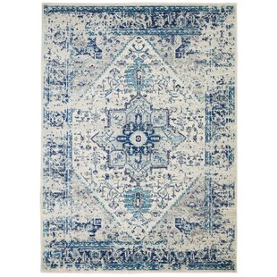 Beliveau Traditional Distressed Ivory/Light Blue Area Rug by Charlton Home