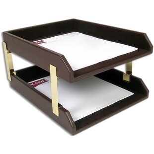 Dacasso Leather Double Letter Tray