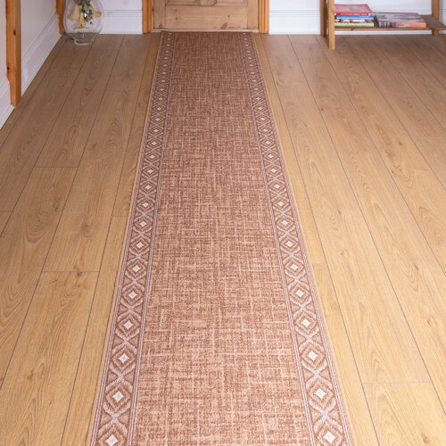 Bank Looped/Hooked Golden Hallway Runner Rug ClassicLiving R