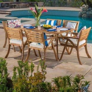 Coyne 7 Piece Dining Set with Cushions & Wood Patio Dining Sets You\u0027ll Love | Wayfair