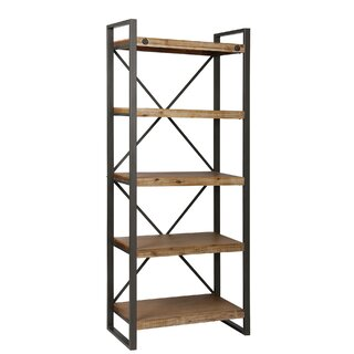 Yosemite Metal, Acacia, MDF, and Wood Veneer Etagere Bookcase by 17 Stories SKU:EC507131 Purchase