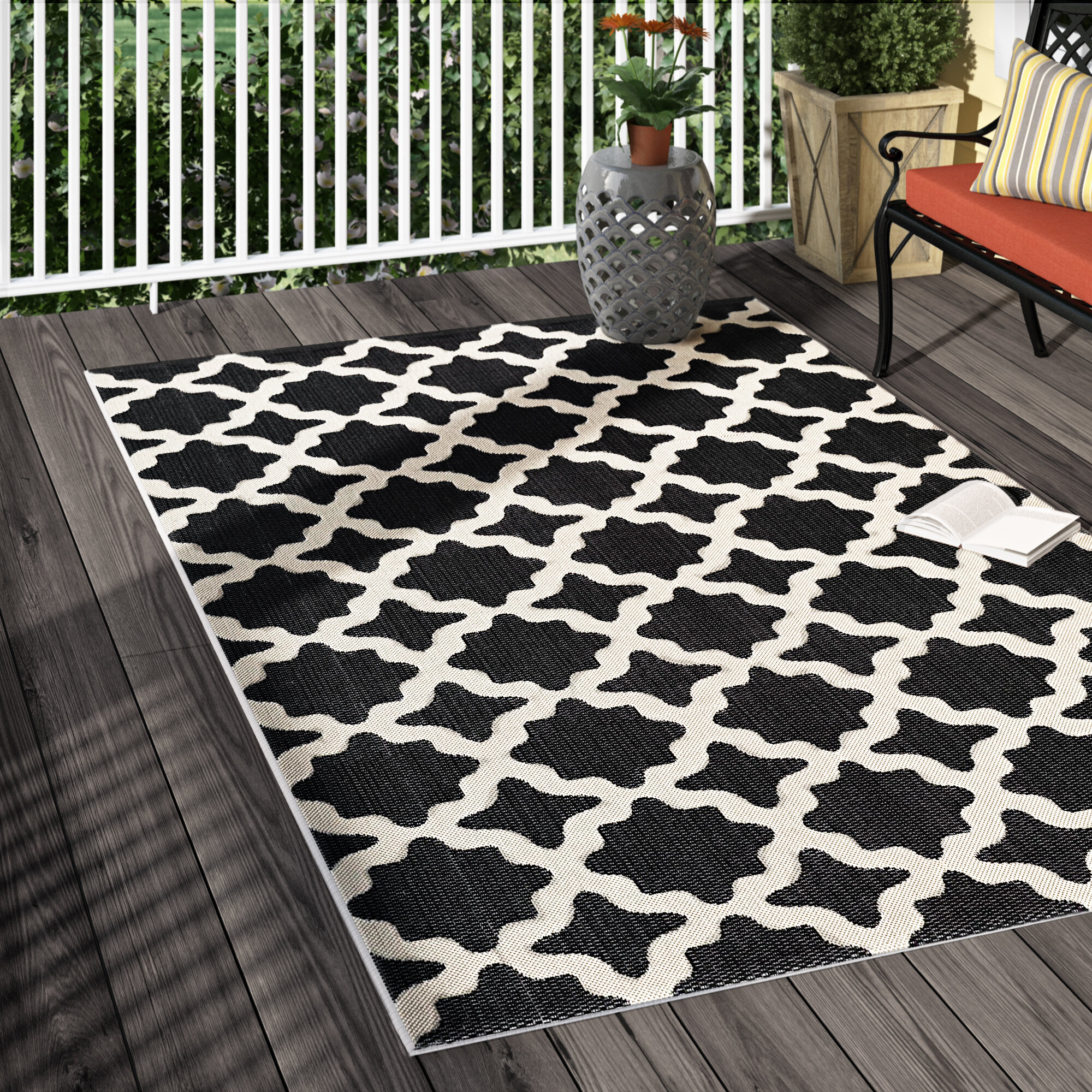 Charlton home hervey bay moroccan trellis black beige indoor outdoor area rug reviews wayfair