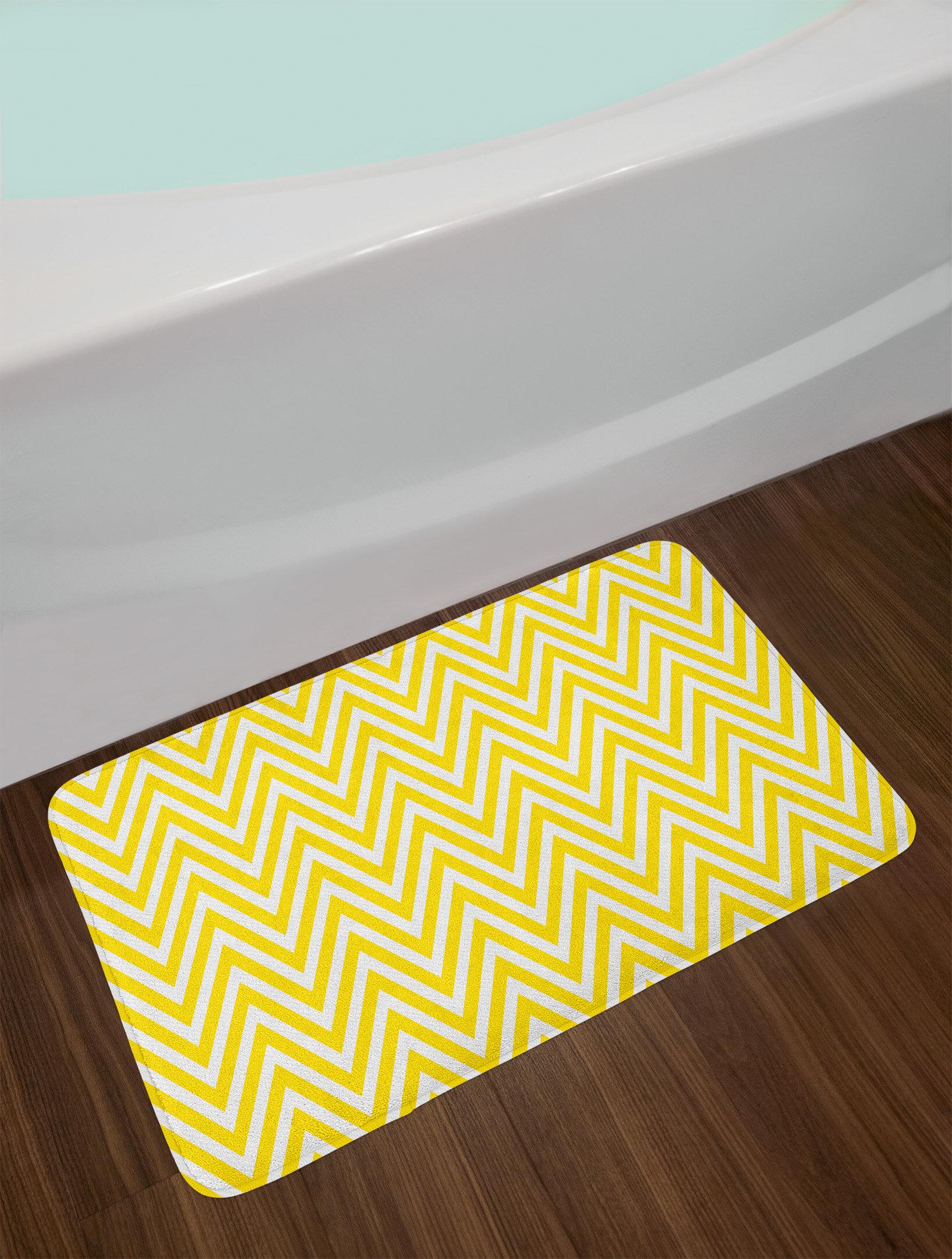 East Urban Home Thin Yellow White Yellow Chevron Bath Rug Wayfair