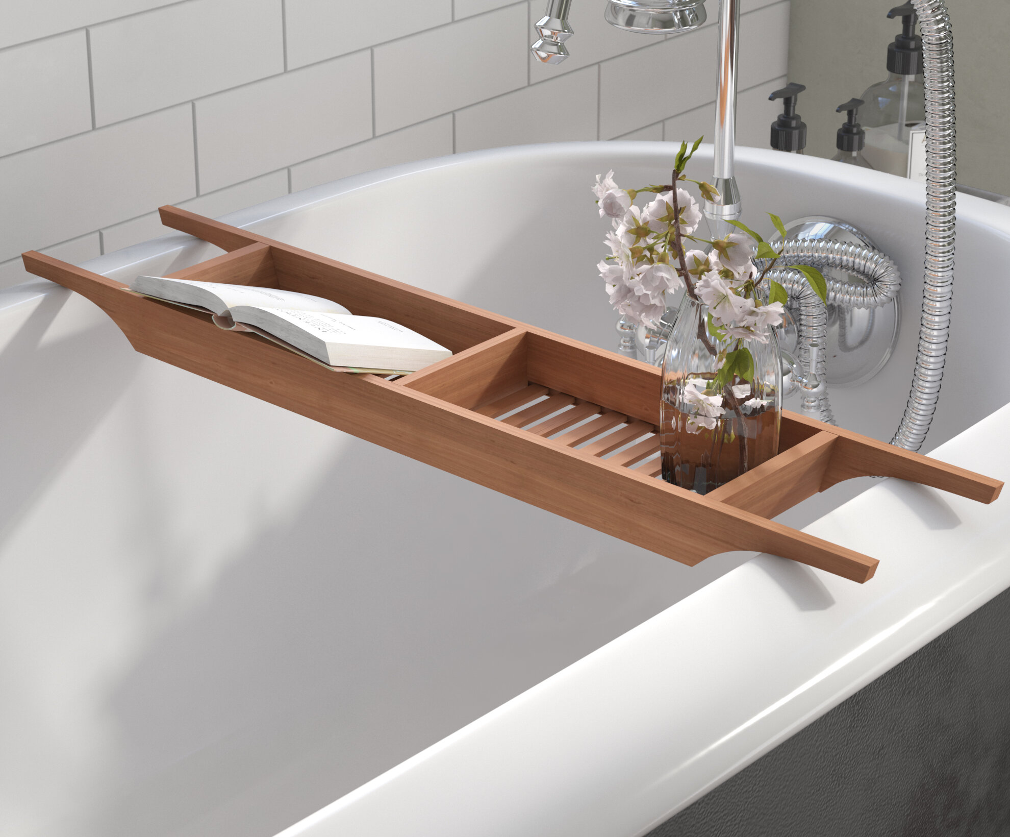 Andover Mills Raritan Wood Bath Caddy & Reviews | Wayfair