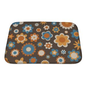 Beta Multicolored Funky Flowers Abstract Pattern Bath Rug