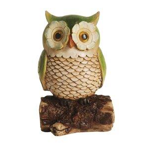 Owl On A Stump Outdoor Patio Garden Statue