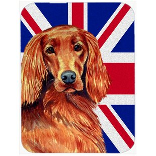 Union Jack Irish Setter with English British Flag Glass Cutting Board By Caroline's Treasures