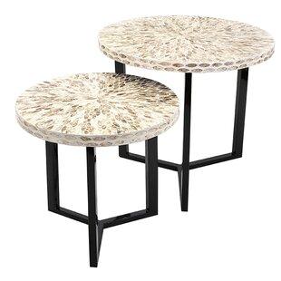 Bonita 2 Piece Shell End Table Set (Set of 2)
