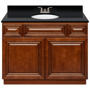 Kempst 42 Vanity Cabinet Cherryville + Absolute Black Granite Top + LB3B Faucet by Charlton Home