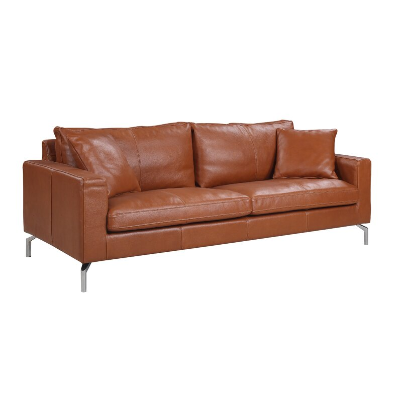 Nyyear Mid Century Modern Plush Top Grain Leather Sofa & Reviews ...