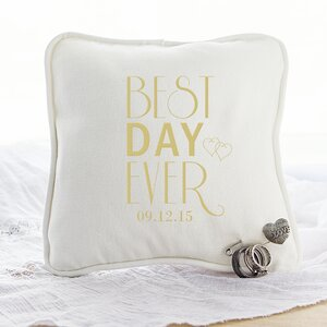 Best Day Ever Personalized Ring Bearer Cotton Throw Pillow with Heart Pin