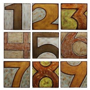 Wood Numbered 9 Piece Textual Art Plaque Set