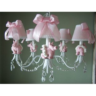 Silly Bear Lighting Piggy Princess 5-Light Shaded Chandelier