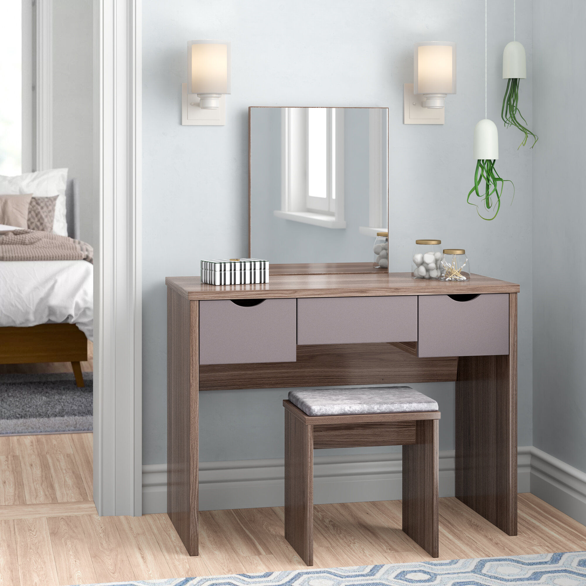 Romane Dressing Table Set With Mirror