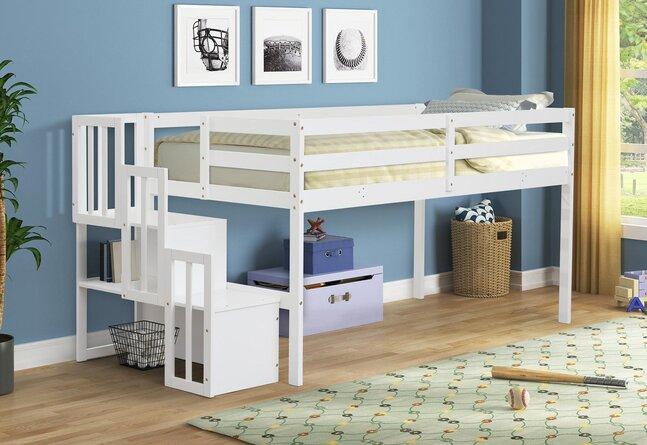 Grangeville Twin Loft Bed with Shelves by Harriet Bee