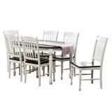 Bianca 7 Piece Solid Wood Dining Set by Rosalind Wheeler