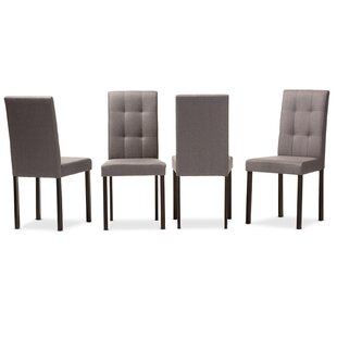 Guzzi Grid-Tufting Upholstered Dining Chair (Set of 4) Charlton Home