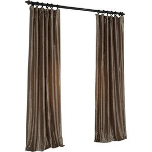 Forbell Solid Vintage Textured Faux Dupioni Silk Rod Pocket Single Curtain Panel